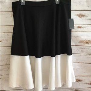 NWT Eloquii White / Black Colorblock Midi Skirt